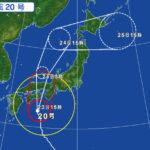 台風20号、大山への最接近は8月24日0時頃。8月24日の大献灯は中止!