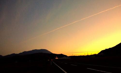 夕焼けの大山