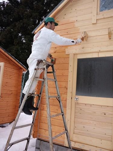 ミニログ外壁防腐処理と塗装